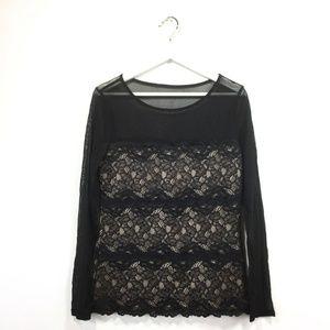 INC International Concepts Large Shirt Black Lace